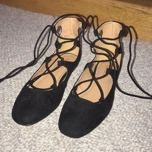 Bamboo black tie up flats